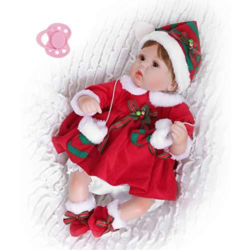mumisuto Bambole realistiche per Neonati, Bambole per Neonati in Silicone Morbido Bambole realistiche per Ragazze vestite di Natale 15.7in per Bambini dai 3 Anni in su(Bambola di Natale)