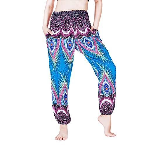 Lofbaz Pantalones Harem para Mujer Yoga Palazzo Maternity Joggers Pijama Beach Travel Lounge Boho Ropa Bohemia Pavo Real Danza Azul Marino L