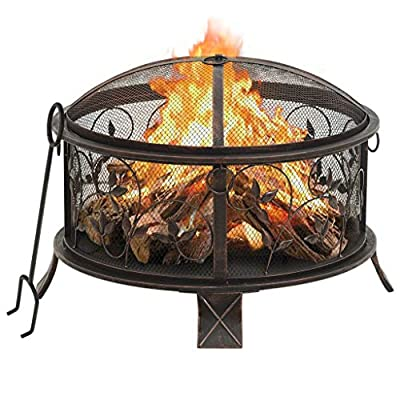 vidaXL Rustic Fire Pit with Poker Fire Bowl Patio Heater Fireplace Outdoor Garden Furnace Decoration with Mesh Cover 67.5 cm XXL Steel by vidaXL