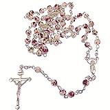 Blanco y rojo mármol cristales redondos cuentas de rosario en plata cadena 51cm largo collar