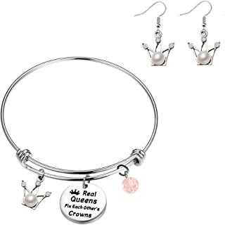 KUIYAI Real Queens Fix Each Other's Crowns Bracelet with Crown Charm Crown Earring Princess Jewelry