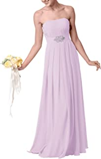 Long Bridesmaid Dresses Chiffon Prom Party Dress Beaded Evening Formal Gowns Maxi Strapless