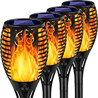 4-Pack Arrinew Upgraded Outdoor Solar Torch Lights