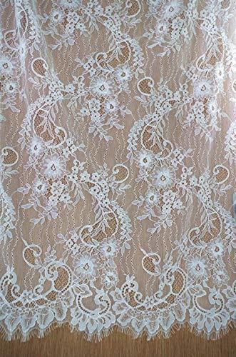 Off white chantilly kant stof, kant stof voor bruidsjurk, Franse kant stof te koop, 2017 nieuwe aankomst