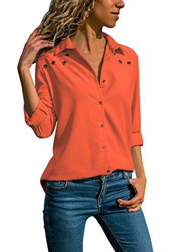 Aleumdr Bluse Damen Langarm hemdbluse V Ausschnitt Langarmshirt einfarbig Business mit Knopfleiste Hemd Oberteile Herbst und Sommer Revers Kragen- Gr. Medium (EU40-EU42), Orange
