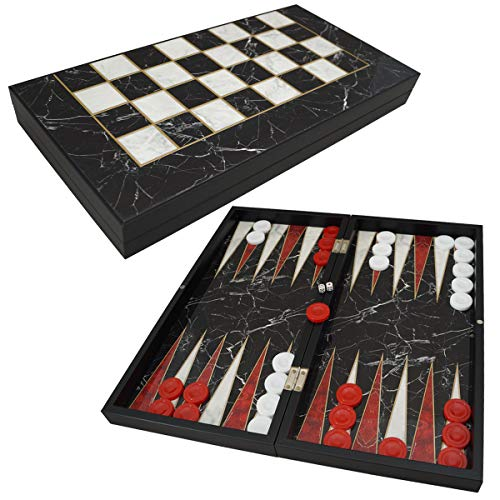 PrimoLiving Deluxe Monte Carlo - Juego de backgammon (madera, tamaño XXL, 48 x 48,7 cm)