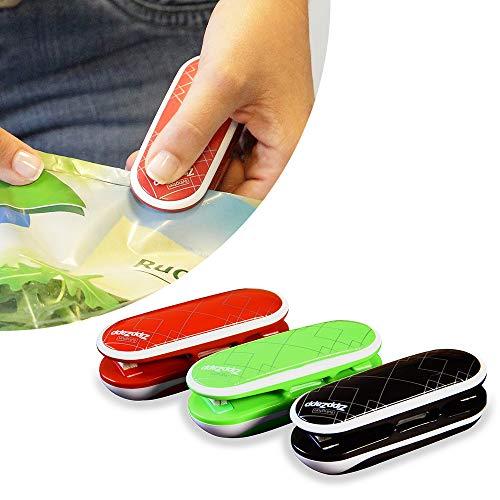 Livington Zipp Zapp Universalversiegler | Tüten-Wiederverschließer | Verschweißer | Folien-Schweißgerät | Set beinhaltet 3 Stück in den Farben: rot, grün, schwarz | Das Original aus dem TV