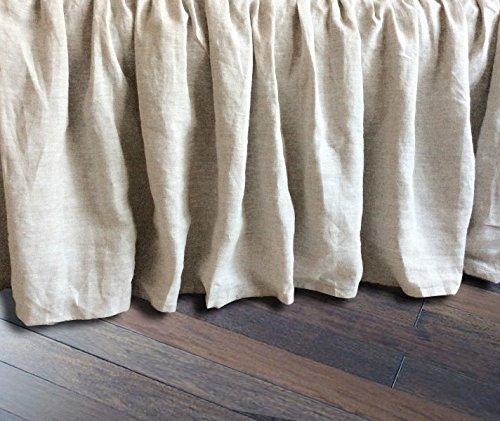 Linen Bedskirt, Natural Linen Bed Skirt, Natural Linen Bed Ruffles, Linen Dust Ruffle, Shabby Chic Bedding, Twin Bed Skirt, Queen Bed Skirt, King Bed Skirt, HANDMADE, FREE SHIPPING