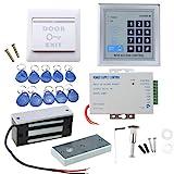 AGPTEK Sistema RFID de Control de Acceso de Puerta con Cerradura de Seguridad Electromagnética de 60kg, Teclado, 10 Llaveros
