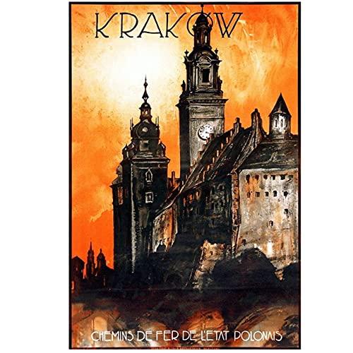 Polska turystyka plakaty podróżnicze Kraków klasyczne obrazy ścienne na płótnie dekoracyjny plakat w stylu vintage wystrój baru domu prezent 40x60cm x1 bez ramki