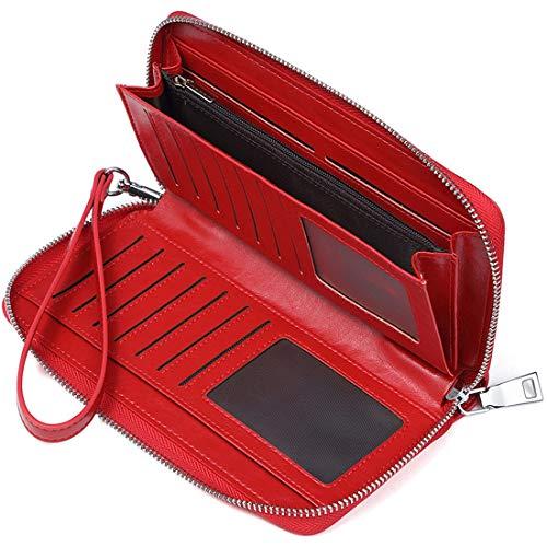 JEEBURYEE Cartera Monedero de Mujer Grande Piel Larga RFID Bloqueo Billetera Tarjetero para Tarjetas de Crédito con Cremallera y Correa para la Muñeca - Rojo