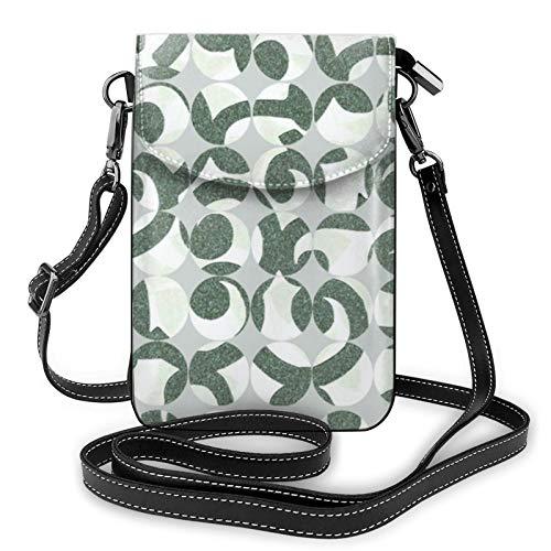 Fundas de botón de cuero verde azulado bolsa de hombro cruzada para teléfono celular bolso ligero bolso monedero para mujeres viajes de compras