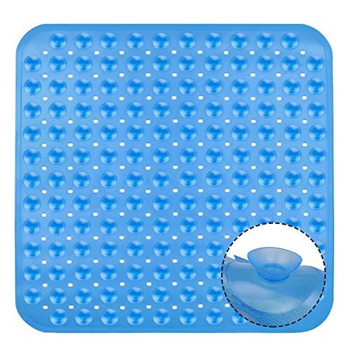 DIAOPROTECT Duschmatte, Quadratisch Antirutschmatte Dusche für Kinder, Duscheinlage Duschmatte rutschfest mit Saugnäpfen, Transparent Blau