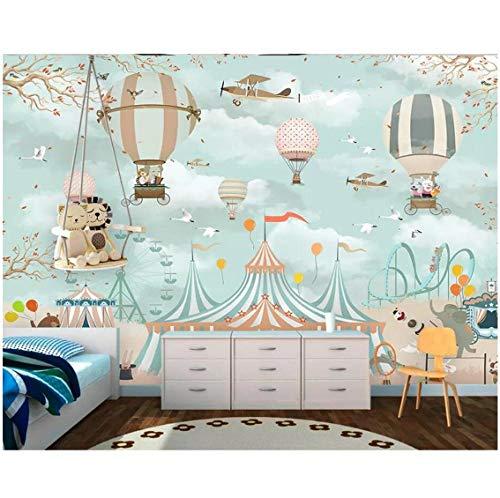Newberli Carta da parati su ordinazione murale romantico del fumetto della mongolfiera del fumetto della parete della carta da parati della decorazione della stanza dei bambini della parete