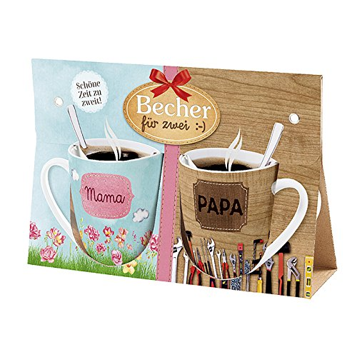 La Vida 9705171 Becher für Zwei :- Kaffeebecher, Porzellan, Mama & Papa, 2-teilig (1 Set)