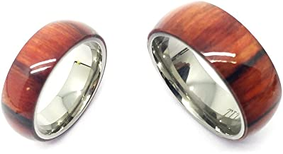 GiftsWithThought His & Her's 8MM/6MM Titanium Pure Light Brown Cherry Hawaiian Koa Wood Domed Top Wedding Band Ring Set