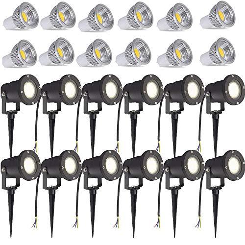Lampada LED da giardino 3W bianco caldo con picchetto, luce per prato, nero opaco, impermeabile IP65, per esterni, giardino, laghetto, paesaggio senza spina 12 pezzi