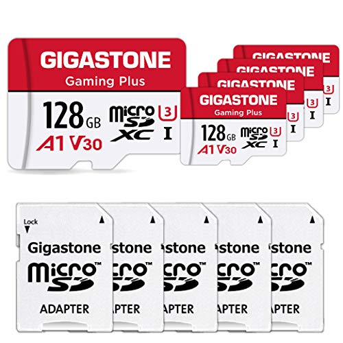 Gigastone 128GB 5-Pack Micro SD Card, Gaming Plus, Nintendo Switch Compatible, R/W 100/50MB/s, 4K Video Recording, Micro SDXC UHS-I A1 U3 Class 10, with Adapter