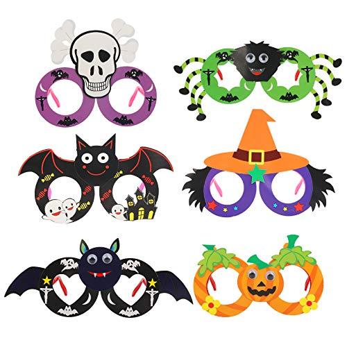 Gafas Marcos Halloween KATOOM 6PCS Anteojos Disfraces de Halloween para Fiestas Novedad, Divertido, Araña, Murciélago, Calabaza, Esqueleto, Bruja para Decoración, Accesorio para Fotos para Niños
