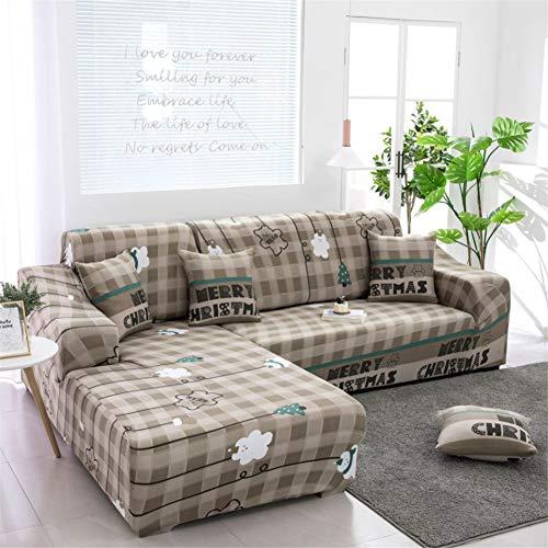 LWZZW Eck-Sofaüberwurf, Polyester, rutschfest, L Ecke (1/2/3/4-Sitzer) #29, (3 -seater + 4-seaterr)