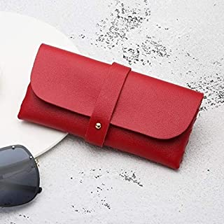 Jtj Fashion Portable Glasses Case Magnetic PU Leather Foldable Glasses Box for Eyeglass Oversize Sunglasses(White) (Color : Red)