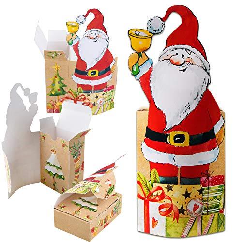 Logbuch-Verlag 5 botines de Papá Noel para rellenar de cartón, caja de regalo para Navidad, niños, empleados y compañeros de trabajo
