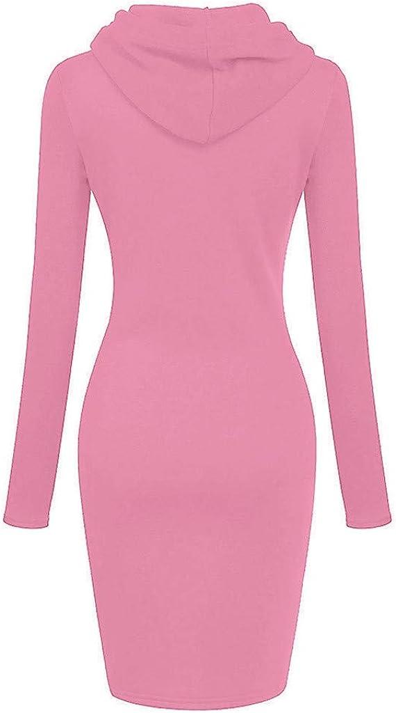 TOPUNDER Pullover Pocket Knee Length Slim Hoodie Dresses Casual Sweatshirt Dress Women