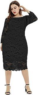 JDJREN Vestido Largo Mujer Primavera Verano Talla Grande, Fiesta Vestido, Vestido Hueco De Encaje De Temperamento Y9920,Black,XL