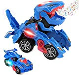 Bluelover Transforming Dinosaur Toys, Transforming Dinosaur Car, Automatic Transform Dino Cars with Music and LED Light, Transform Car Toy for Kids Boys Girls Birthday Gifts (Blue)