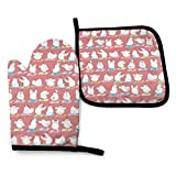 XCNGG Guantes para microondas Chicken Yoga On Pink Unisex Pattern Heat Resistant Oven Mitts Pot Holders for Kitchen Set Soft Anti-Scald Cotton Non-Slip Gloves,