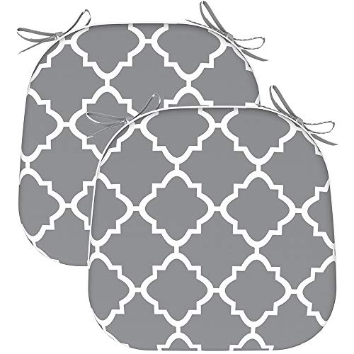EAGLE PEAK Indoor Outdoor Seat Cushion with Ties, Decorative Chair Pads for Office Decoration Patio Garden Furniture Home Chair Cushions, Set of 2, 16x17 inch, Geometric Gray