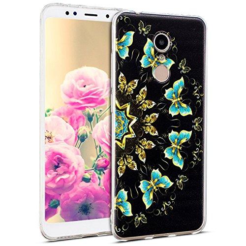 Uposao Kompatibel mit Hülle Xiaomi Redmi 5 Silikon Handyhüllen Schöne Muster Durchsichtige Ultradünn Schutzhülle Transparent Silikon Bumper Clear Backcover,Schmetterling