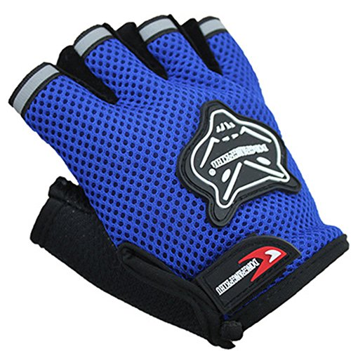 ZOONAI Cycling Gloves Boy Girl Child Children Mountain Bike Gloves Half Finger Biking Gloves Breathable Cycle Gloves (Blue)