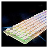 HJSMZ Backlit Colorful Keyboard, Retro Gaming Keyboard, Rich Multimedia Buttons, Metal Frosted Material, Ergonomic, Suitable for Computer Games, Office, etc,White