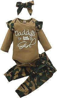 Verve Jelly Kleinkind Baby Mädchen Leopard Camouflage Outfits Briefdruck Langarm Rüschen Strampler  Lange Hosen  Stirnband 3 Stück Herbst Kleidung Set