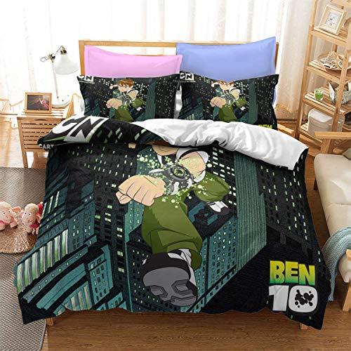 QWAS Boy Hacker Ben10 - Juego de ropa de cama de 3 piezas (2,135 x 200 cm + 80 x 80 cm x 2)