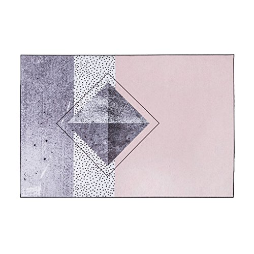 KTYXGKL Alfombra de salón moderno y minimalista, moderna, mesita de noche, sofá, mesa de café, alfombra gris y rosa, tamaño 140 x 200 cm