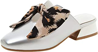 RizaBina Fashion Mules for Women Backless Sandals Low Heels Closed Toe Shoes Leopard Bowknot