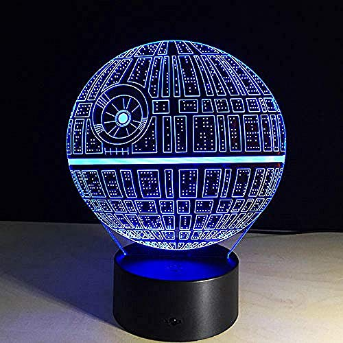 Lamp 3D Death Star War Bb-8 R2D2 Master Yoda Darth Vader USB Multicolor Led Table Night Light Bedroom House Gifts Death Vader USB Rechargeable Boys Girls Gifts Decor for Bar CLU