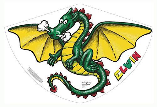 Paul Günther 1181 - Kinderdrachen Elwin, Einleinerdrachen aus robuster PE-Folie mit verstellbarer Drachenwaage, für Kinder ab 4 Jahre mit Wickelgriff und Schnur, ca. 92 x 62 cm groß