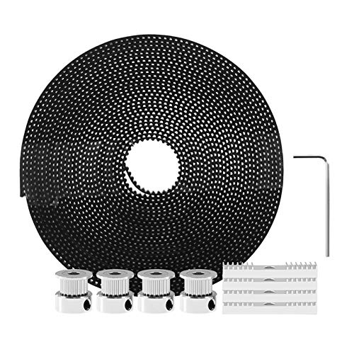 WNAVX Timing belt 3D Printer Parts 5 meter Gt2 toothed belt & 4 x 20 toothed belt pieces & 1 hex head key & for 3d printer kit Running smoothly (Color : Silver)