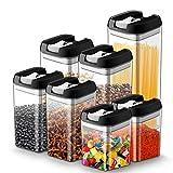 JOLVVN Lot de 7 boîtes hermétiques en plastique durable sans BPA pour le stockage d'aliment sec, avec couvercles de verrouillage pour garder les aliments frais Lot de 7