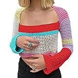 Mujeres Y2K Crochet Crop Top Manga Larga de Punto Bloque de Color Top Cuello Cuadrado Crochet Hollow out Sweater Sweater 90's Streetwear (B-3, Large)