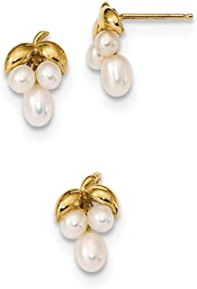 14ct 3-4mm White Rice Freshwater Cultured Pearl Earrings and Pendant Set