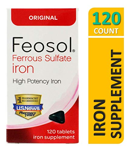 Feosol Original Ferrous Sulfate Iron, 120 Count, High Potency Iron Supplement, White