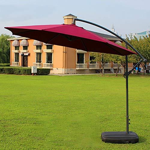 ZDYLM-Y Parasol déporté avec manivelle et 8 Nervures Robustes, parasols de 3 m pour la Piscine Market Garden Beach,Red