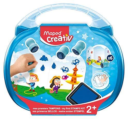 Maped Creativ Early Set met stempelkussen en transportkoffer + 6 stempels + 1 blauwe tekst voor baby's en kinderen vanaf 2 jaar, meerkleurig, uniek