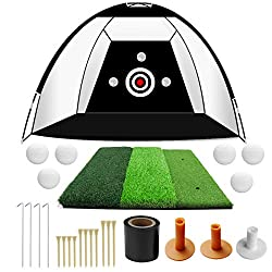 PACKAGE INCLUDES: 1 * 10ft x 6ft x 6.7ft PRO Golf hitting net , 1 * Impact Target, 6 * Golf Practice Balls, 12 * Pins for fixing hitting net(include 3 kinds of sizes), 3 * rubber tees, 4 * Stainless Steel Ground Stakes, 1 * Carry Bag , 1 * 2' x 2' Hi...