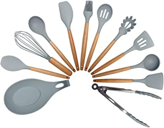 HYTT Silicone Kitchenware Cookware Set Baking Tools Kit Cooking Utensils Wooden Handle Non-stick Spatula Tube with Box Pre...