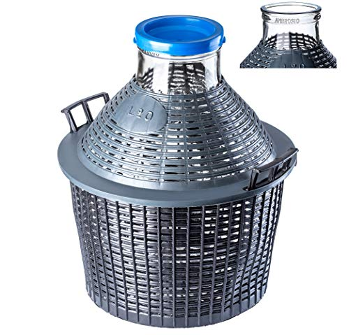 KADAX Glasballon, Gärballon mit Kunststoffkorb, Weite Öffnung, Gummistopfen, Weinballon, Glasgärballon, Flasche, Glasflasche, Gallone, Gärbehälter, Gäreimer (15L)